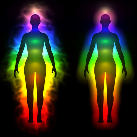 holistic health: 3d illustration of rainbow aura of woman - silhouette