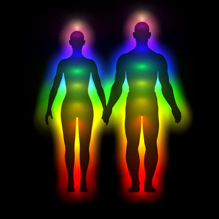 extrasensory: Rainbow silhouette of human body with aura - woman and man Stock Photo