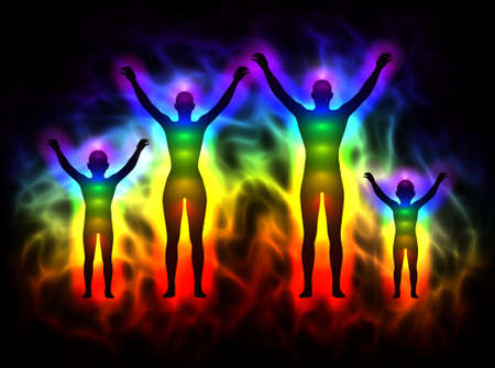 healing chi spiritual: Rainbow silhouette with aura and chakras - family Stock Photo