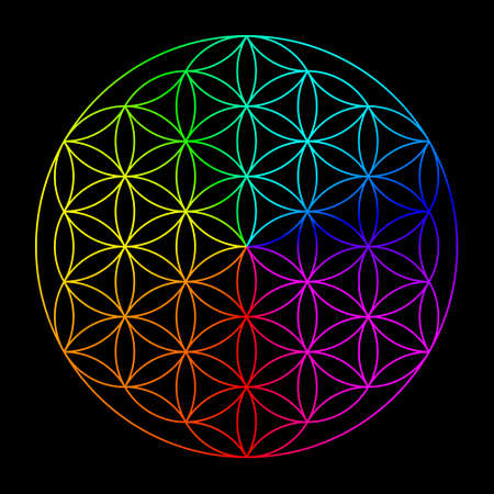 aura energy: Rainbow flower of life - symbol of sacred geometry