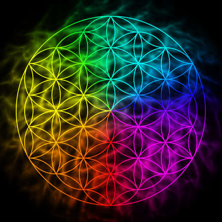 spiritual energy: Rainbow flower of life with aura - symbol of sacred geometry