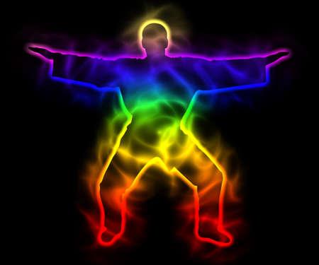Rainbow master samurai with aura - silhouette Stock Photo