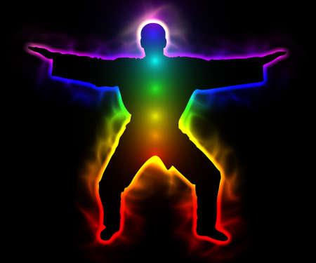 Spiritualität und Ruhe - Regenbogen-Master Samurai mit Aura und Chakren Standard-Bild