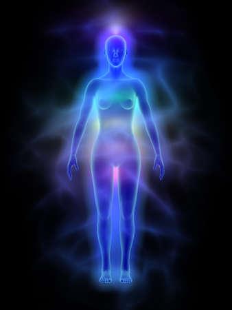 silueta humana: Energía aura humana cuerpo con chakras - Mujer