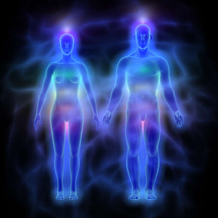 healing chi spiritual: Human energy body aura with chakras - woman and man