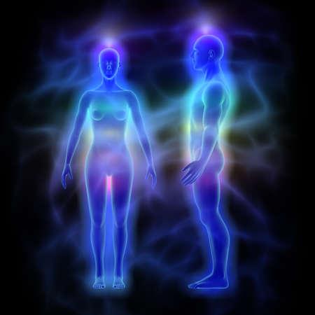 Healing energy, aura and chakras - woman and man