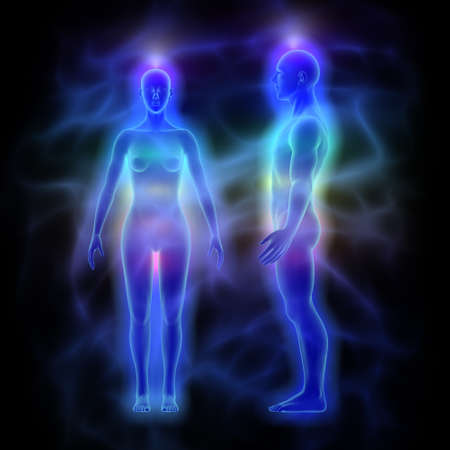 Healing energy, aura and chakras - woman and man