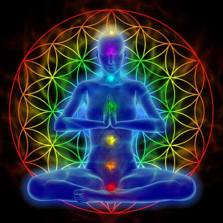 mente humana: Ilustración de la mujer meditando, símbolo de la flor de la vida