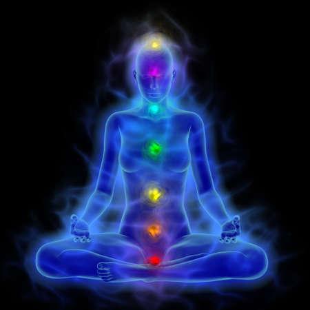 Illustration du corps humain de l'énergie, aura, chakra dans la méditation