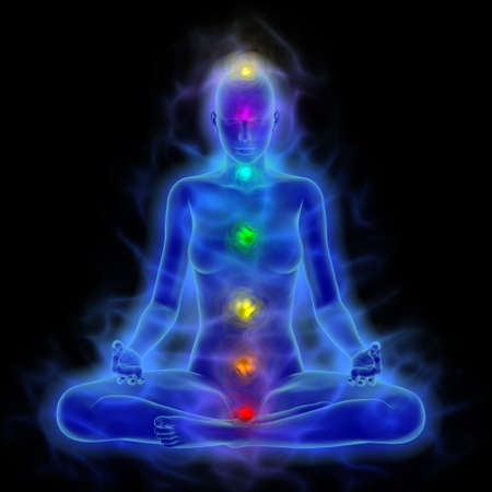 mind body soul: Illustration of human energy body, aura, chakra in meditation