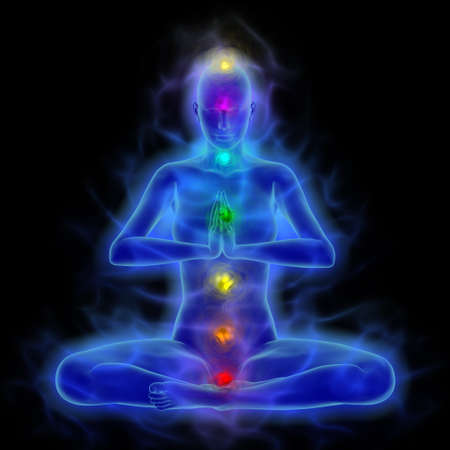 Illustration of human energy body silhouette with aura and chakras in meditation.