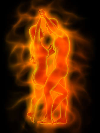 Illustration of dancing couple with orange aura