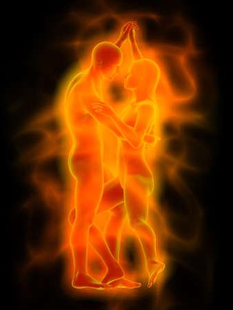 femme romantique: femme et homme avec aura d'orange Danse