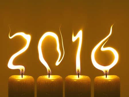 Kaarsvlammen schrijf nummers 2016. Gelukkig nieuw jaar 2016 Stockfoto