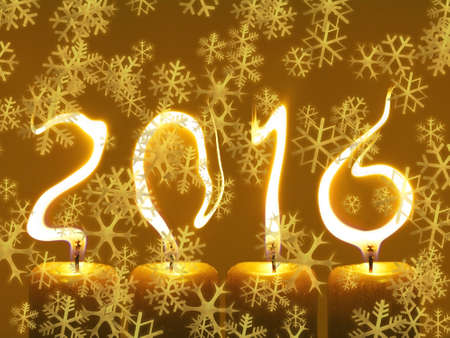 pour feliciter: Happy new year 2016 - snowflakes Stock Photo