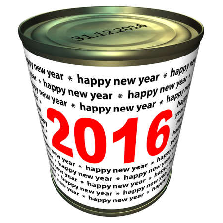 pour feliciter: New year 2016 - can, isolated