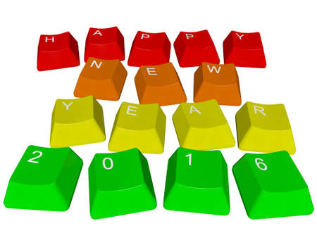 Happy New Year 2016 - PC keys Stock Photo