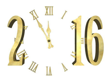 Clock and numbers 2016, Happy new year 2016 - isolated concept Stock Photo