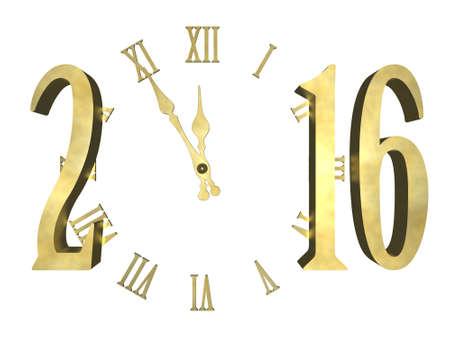 Klok en cijfers 2016 Happy new year 2016 - concept geïsoleerd Stockfoto
