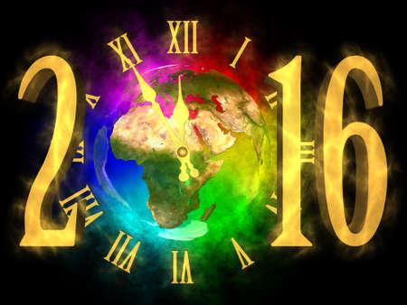 Gelukkig Nieuwjaar 2016 Europa, Azië en Afrika Stockfoto
