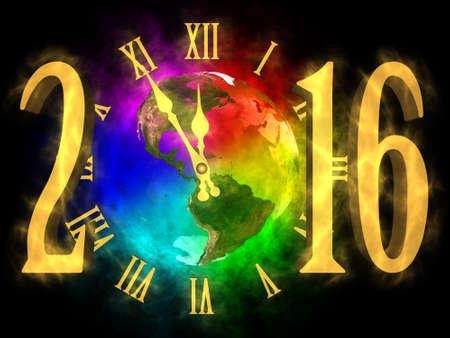 planeta tierra feliz: A�o nuevo 2016 Am�rica Foto de archivo