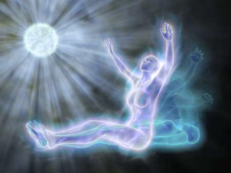 삶의 후 인생 - 영혼은 시체를 떠난다. 스톡 콘텐츠