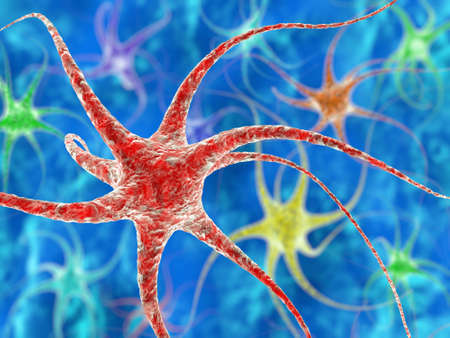 Nerve cell illustration with depth of field blur