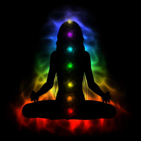kundalini: Silhouette of long hair woman meditating - colored chakras