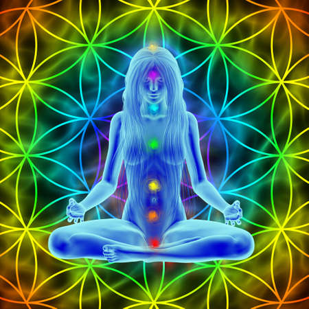 esoterics: Meditation - long hair woman and flower of life