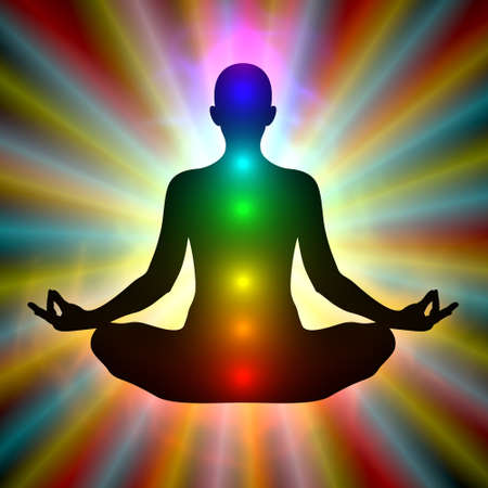Woman in meditation on colored background - aura, chakras