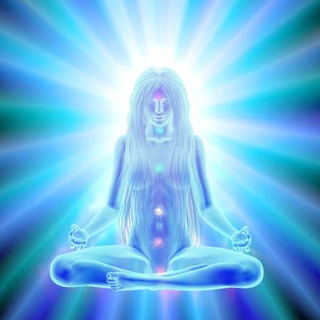 Lang haar vrouw mediteren in lotushouding, verlichting van de geest