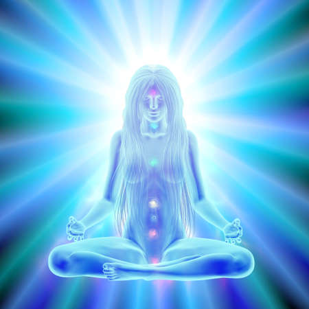 Long hair woman meditating in lotus position, enlightenment of mind Stock Photo
