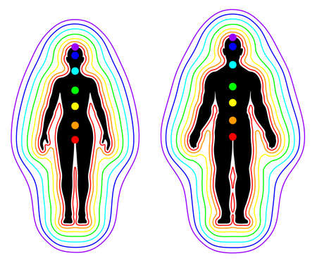Human aura and chakras on white background