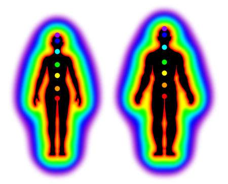 Corpo humano da energia com aura e chakras no fundo branco Banco de Imagens