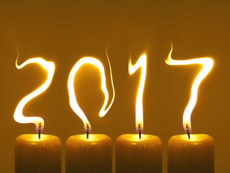 Happy new year 2017 - candles Stock Photo