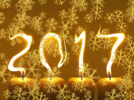 Happy new year 2017 - snowflakes greeting Stock Photo