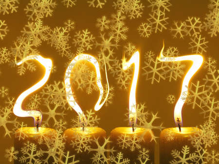 Happy new year 2017 - snowflakes greeting Stock Photo