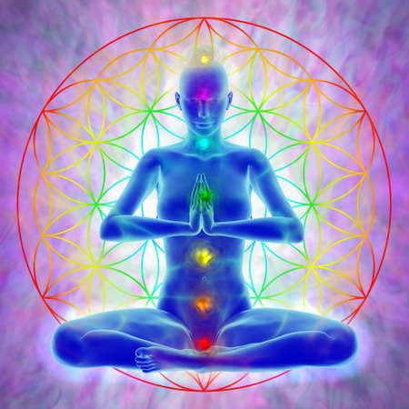 Woman in meditation, symbol flower of life