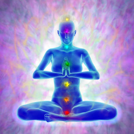 Meditation - aura and chakras Stockfoto