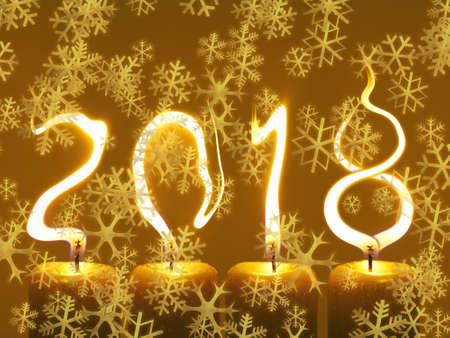 Gelukkig nieuwjaar 2018 wenskaart - sneeuwvlokken