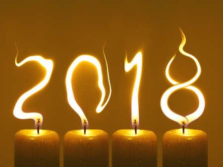 Gelukkig nieuw jaar 2018 - kaarsen Stockfoto
