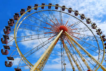 observation wheel: Observation wheel in the sky with clouds  Stock Photo