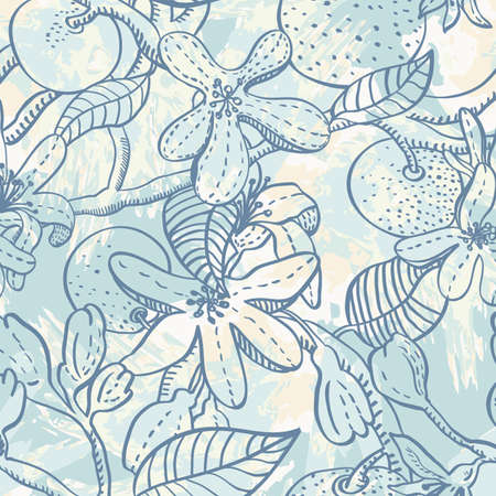 Seamless pattern with flowers and oranges Vector