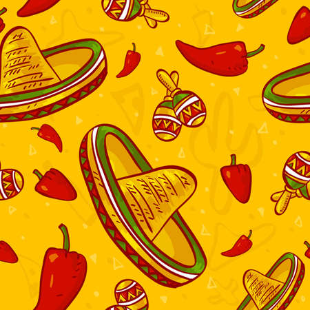 Cinco de Mayo vector seamless pattern  Vector