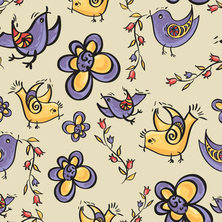 Seamless vector pattern with flowers and birds in a cartoon style