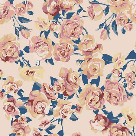Beautiful Seamless floral color pattern, background, vector illustration  Vector