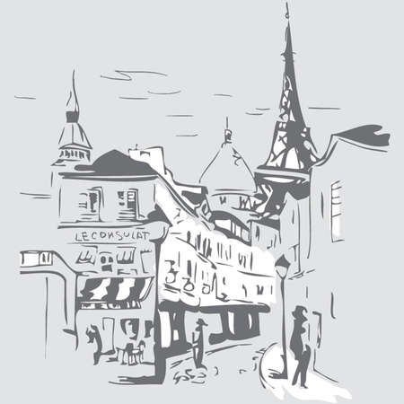 montmartre: Cities of the world in the vector