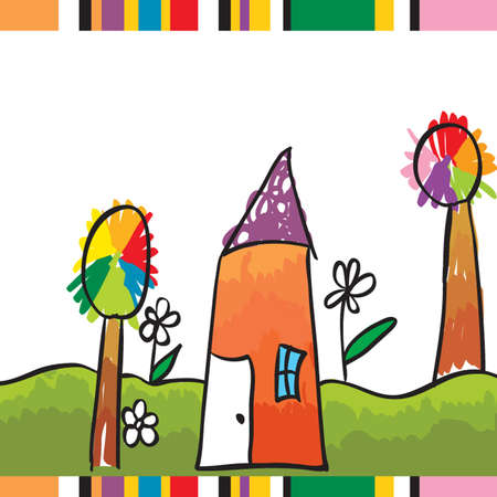 purple grunge: children illustration  Illustration