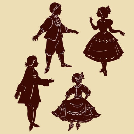 gracefully: Silhouettes of the Prince and Princess of the vector