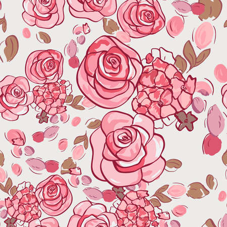 Vector seamless floral pattern with roses  Vector
